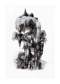 Tinte, Fantasie, Haus, Burg
