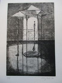 Pavillon, Schwarz, Weiß, Druckgrafik