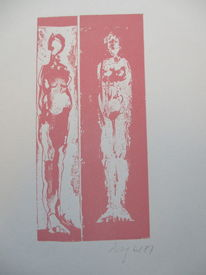 Figur, Altrosa, Weiblich, Druckgrafik