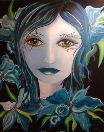 Ausdruck, Augen, Portrait, Acrylmalerei