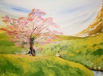 Baum, Modern art, Wiese, Berge