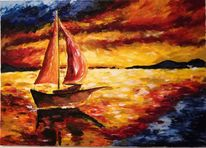 Ölmalerei, Boot, Meer, Landschaft