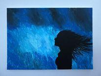 Farben, Frau, Malerei, Regen