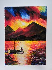 Acrylmalerei, Berge, Farben, Sonne