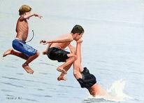 Kinder, Meer, Springen, Sommer