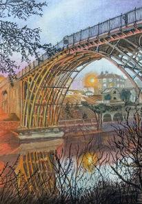 Fluss, Reflexion, Blaue stunde, Brücke