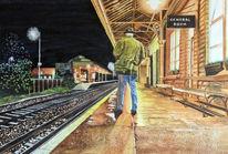 Bahnsteig, Aquarellmalerei, Nacht, Licht