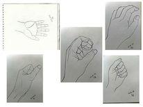 Hände, Studie, Haltung, Hand
