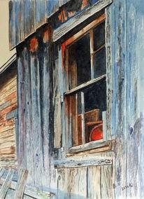 Alt, Hütte, Struktur, Blau