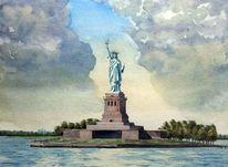 Wasser, Aquarellmalerei, Wolken, Monument