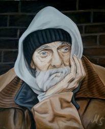 Obdachlosigkeit, Expressionismus, Acrylmalerei, Abstrakt