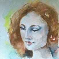 Frau, Rote haare, Aquarellmalerei, Gesicht
