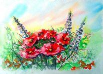 Blumenwiese, Lila, Gelb, Sommer