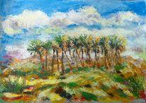Natur, Acrylmalerei, Wüstenlandschaft, Wüste