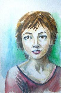 Blau, Aquarell portrait, Hübsch, Grün