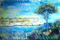 Spachteltechnik, Blau, Acrylmalerei, Meer