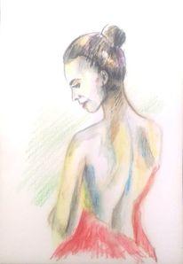 Buntstiftzeichnung, Frau, Model, Akt