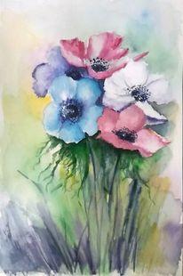 Aquarellmalerei, Pflanzen, Anemonen, Blumenstrauß