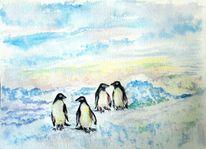 Natur, Meeresvögel, Aquarellmalerei, Antarktis