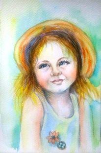 Aquarell portrait, Grün, Kinder, Aquarellmalerei
