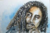 Aquarellmalerei, Musiker, Porträtmalerei, Mann