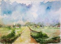 Dorf, Blumen, Wolken, Aquarellmalerei