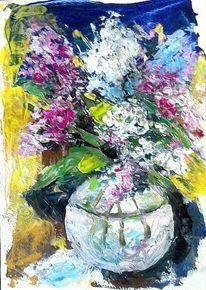 Blau, Acrylmalerei, Moderne kunst, Blumenstrauß