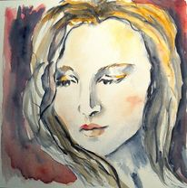 Frau, Kopf, Frauenportrait, Aquarellmalerei