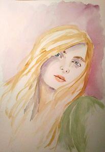 Frau, Aquarellmalerei, Portrait, Frauenportrait