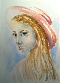 Aquarellmalerei, Frau, Hut, Portrait