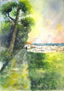 Aquarellmalerei, Baum, Grün, Häuser