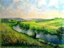 Landschaft, Blumen, Wiese, Aquarellmalerei