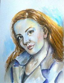 Portrait, Aquarellmalerei, Schönheit, Frauenportrait