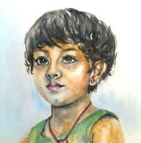 Kinder, Mädchen, Aquarellmalerei, Portrait