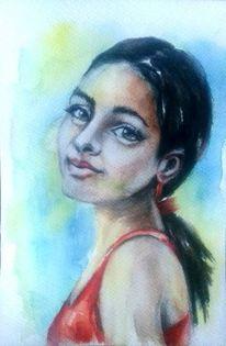 Aquarellmalerei, Aquarell portrait, Kuba, Frauenportrait