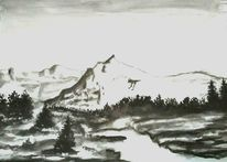 Tuschezeichnung, Berge, Landschaft, Baum