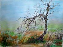Landschaft, Birken, Aquarell landschaften, Natur