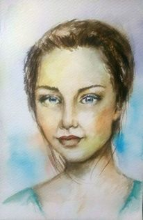 Gesicht, Lila, Aquarellmalerei, Ausdruck