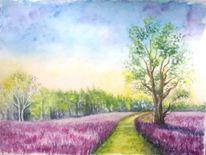 Landschaft, Aquarellmalerei, Natur, Wolken