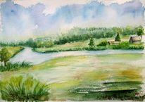 Häuser, Aquarellmalerei, Landschaft, Bach