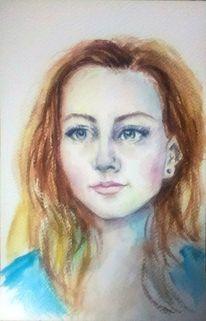 Portrait, Porträtmalerei, Rothaarig, Jung