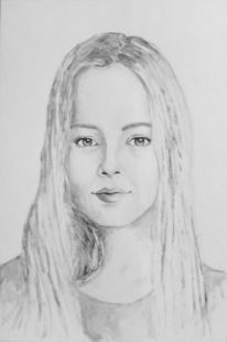 Frauenportrait, Aquarellmalerei, Frau, Portrait