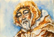 Winter, Aquarellmalerei, Gesicht, Hirte