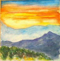 Sonne, Orange, Landschaft, Berge