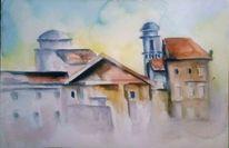 Stadt, Aquarellmalerei, Sonne, Aquarell architektur