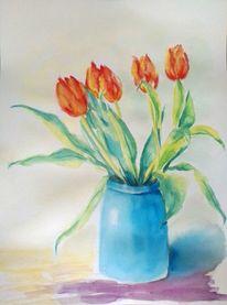 Pflanzen, Aquarellmalerei, Stillleben, Vase