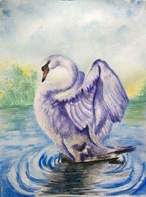Aquarellmalerei, Tiere, Vogel, Baum