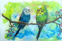 Himmel, Aquarellmalerei, Äste, Vogel