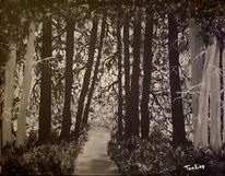 Acrylmalerei, Weiß, Wald, Landschaft