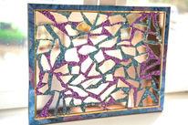 Spiegelscherben, Spiegeldesign, Kunsthandwerk, Blau